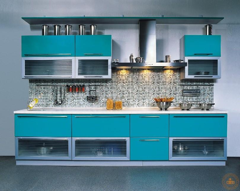 Фото Маленькая кухня «Аквамарин» голубого цвета