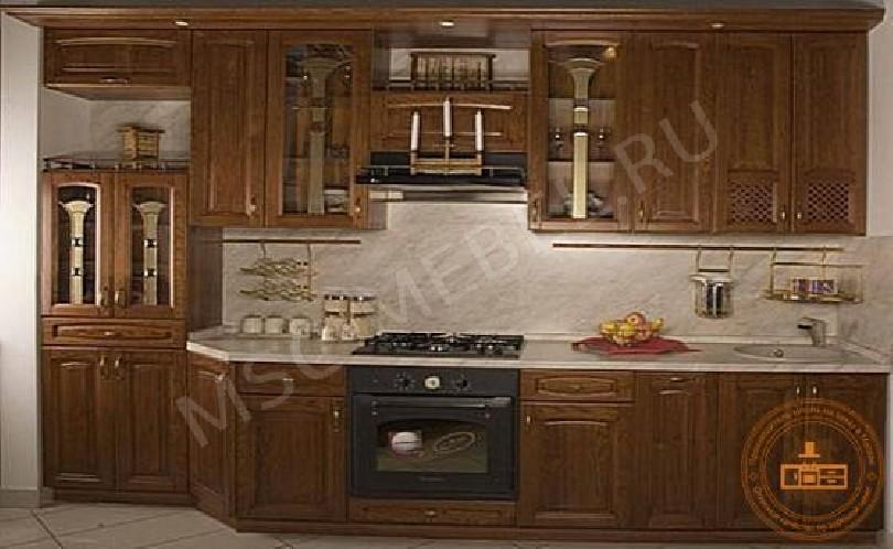 Кухня из массива дуба «Галатея» (цвет под орех)