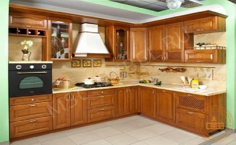 Фото Угловая кухня Галатея (коньяк) из шпона дуба