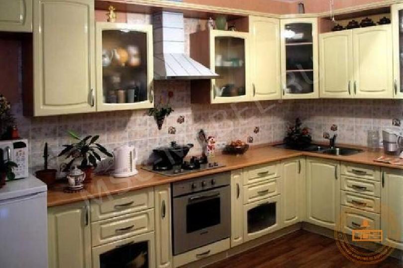 Фото Угловая кухня Крем из МДФ