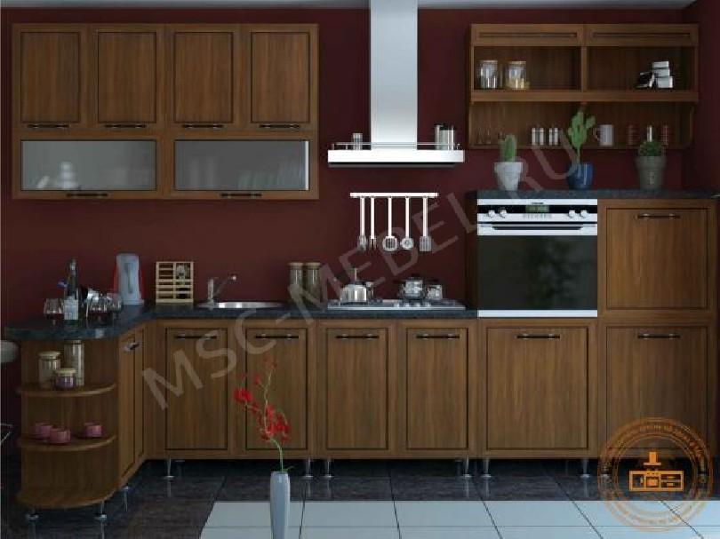 Фото Прямая кухня Квадро (орех/ваниль)