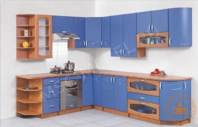Фото Кухня Импульс (голубая с деревом)