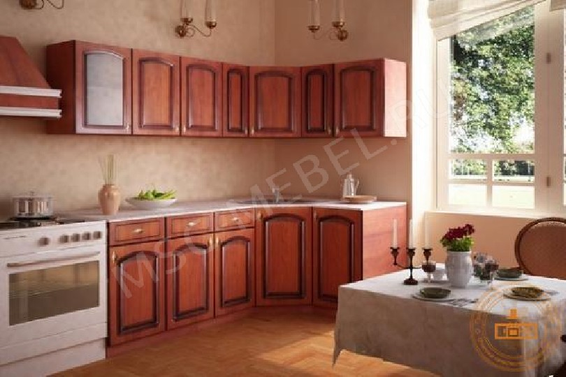 Фото Кухня Глория в цвете вишня