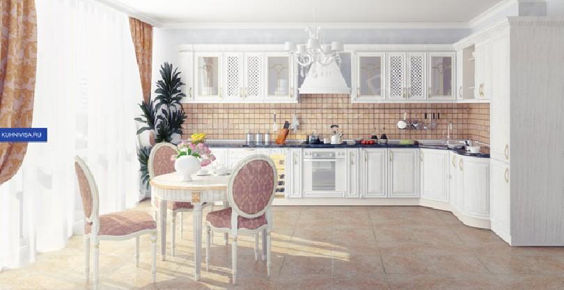 Фото Белая угловая кухня Шанель