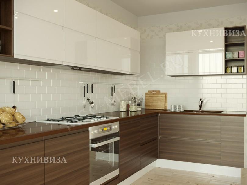 Фото Угловая кухня Равелло (белый верх низ под дерево)