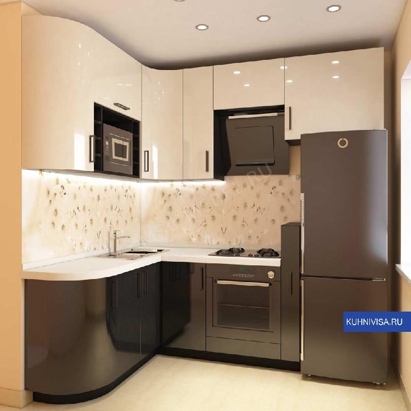 Фото Кухня Джоли белый верх черный низ