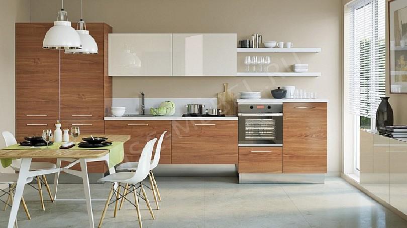 Фото Кухня Габриэль белая с деревом