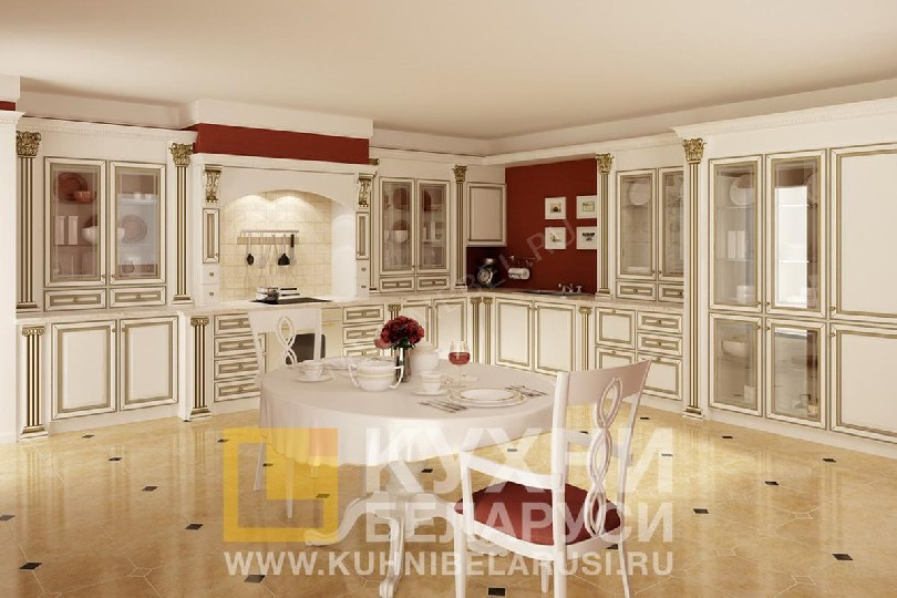 Фото Угловая большая кухня Афина из ольхи