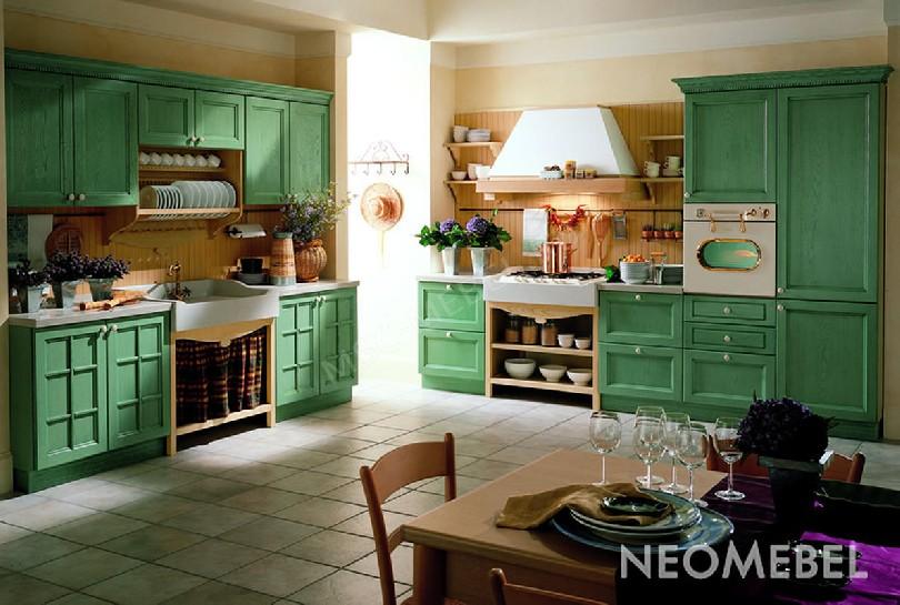Фото Зеленая кухня Verde Prato с глухими фасадами