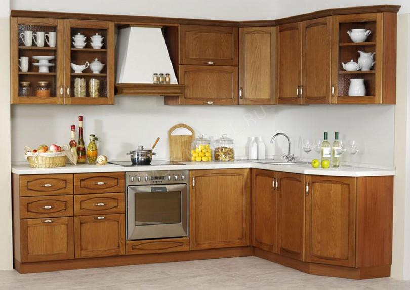 Фото Угловая кухня Аркадия из массива дуба