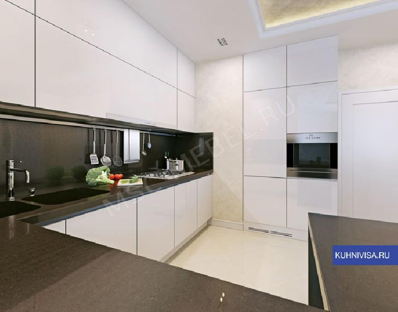 Фото Белая встроенная кухня Стефания