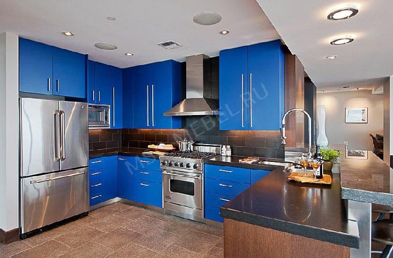 Фото Ярко синяя кухня Стайл (артикул 65)