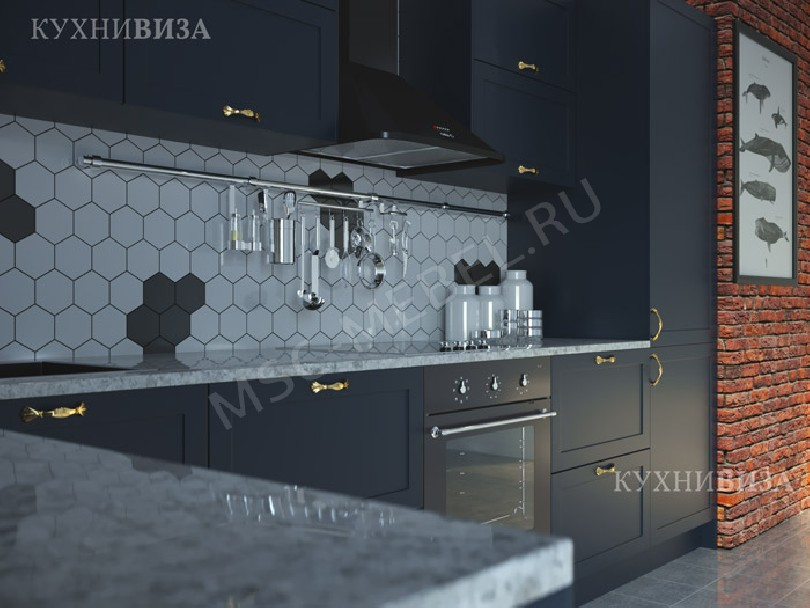 Фото Угловая кухня Блуберри