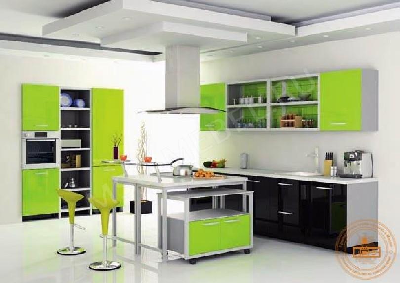 Фото Кухня из пластика «Лаймовый рай»
