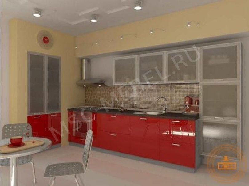 Фото Кухня из пластика «Красный Феррари»