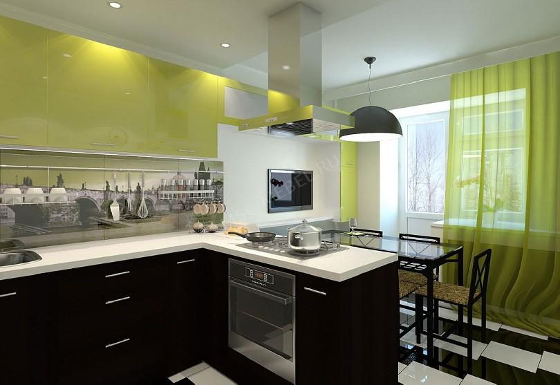 Фото Кухня прямой планировки салатового цвета