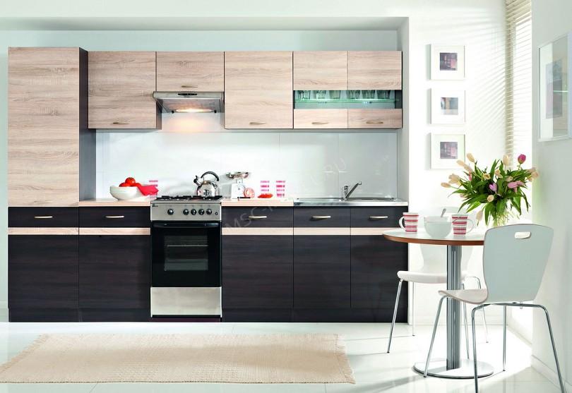 Фото Прямая светло-коричневая кухня Юнона