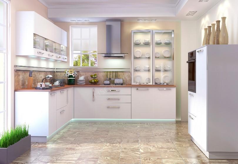 Фото Белая угловая кухня «Альпа» в стиле модерн