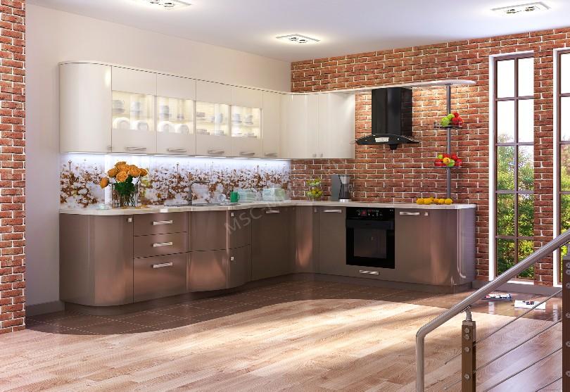 Фото Угловая кухня Вега со стеклянными вставками