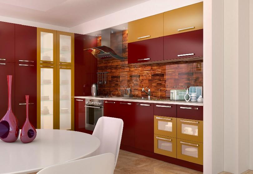 Фото Кухня эконом класса Вишня