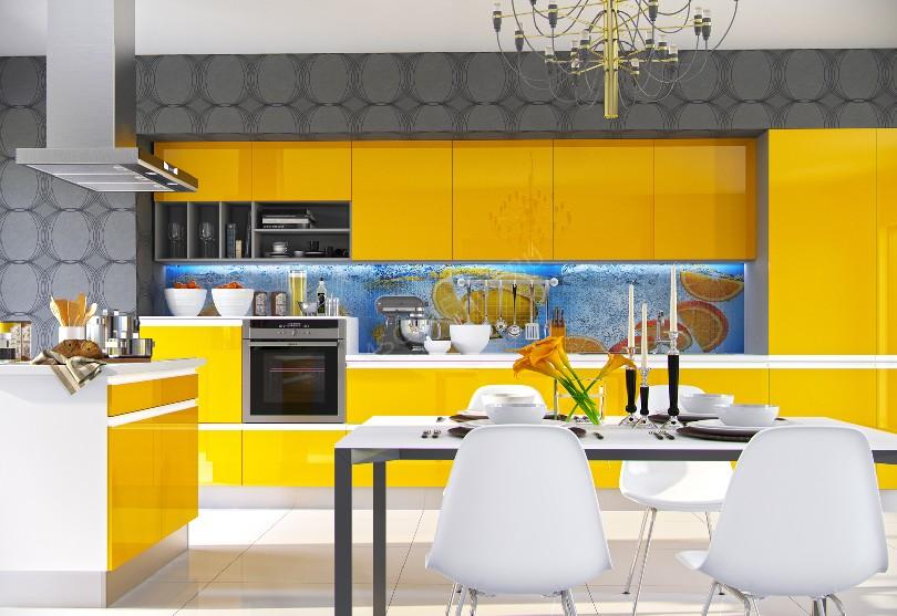 Фото Ярко-желтая кухня «Цитрус»
