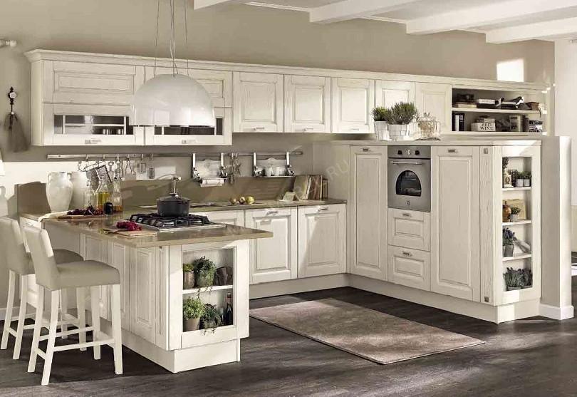 Фото Белая кухня «Lube» с фасадами из шпона