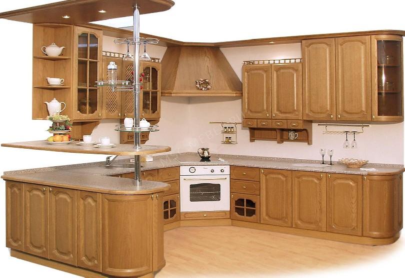 Фото Угловая кухня с барной стойкой в стиле прованс