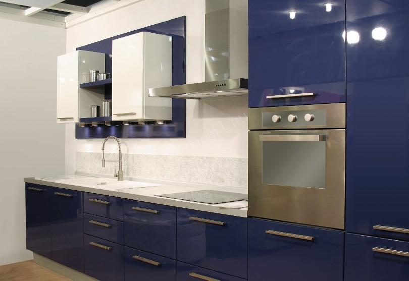 Фото Бело-синяя кухня Лиана Фантазия
