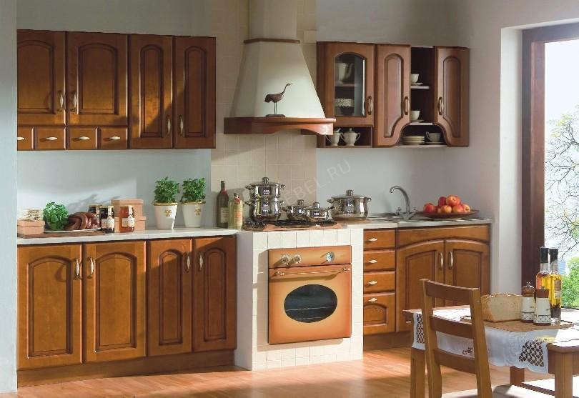 Фото Прямая кухня в стиле ретро из массива